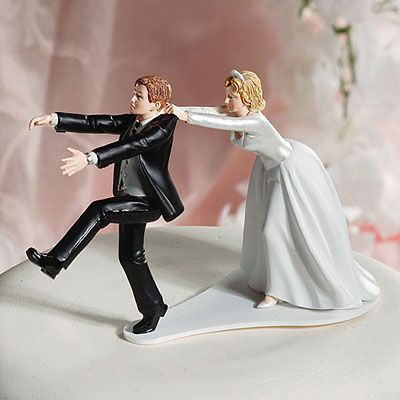 Comical Bride and Groom Cake Topper 4 1/4in