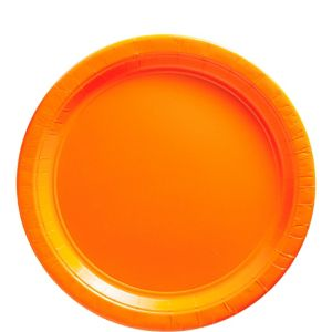 Orange Paper Lunch Plates 20ct