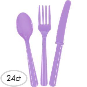 Lavender Plastic Cutlery Set 24ct