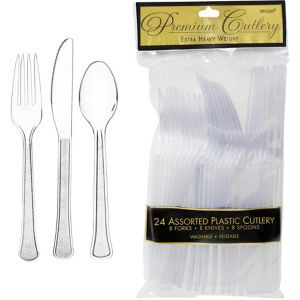 CLEAR Premium Plastic Cutlery Set 24ct