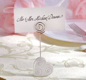 Rhinestone Heart Place Card Holder