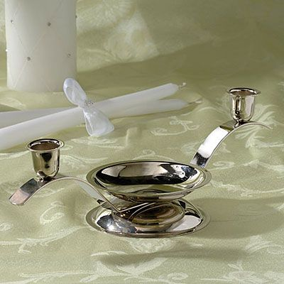 Silver Tri Wedding Unity Candle Holder