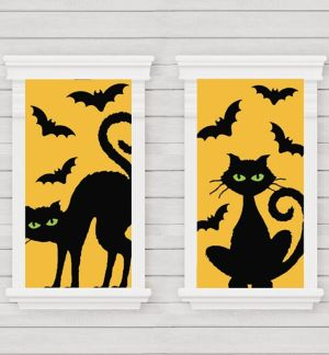Cats & Bats Window Decorations 2ct