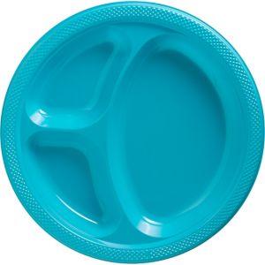 Caribbean Blue Plastic Divided Dinner Plates 20ct