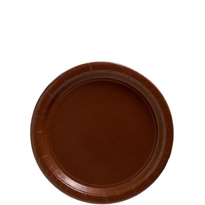 Chocolate Brown Paper Dessert Plates 20ct