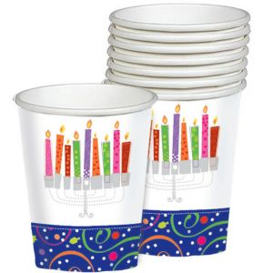 Playful Menorah Hanukkah Cups 8ct