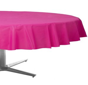 Bright Pink Plastic Round Table Cover