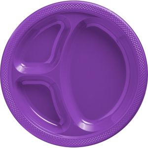 Purple Plastic Divided Dinner Plates 20ct