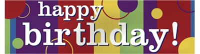 Giant Metallic Happy Birthday Banner
