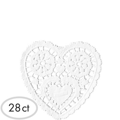 White Heart Doilies 28ct