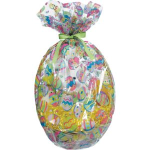 Painted Eggs Plastic Gift Basket Bags 2ct