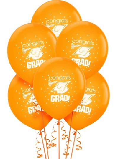 Orange Graduation Balloons 15ct