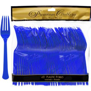 Royal Blue Premium Plastic Forks 48ct