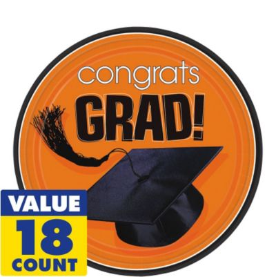 Congrats Grad Orange Graduation Dessert Plates 18ct