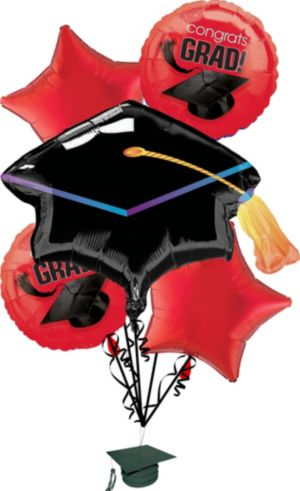 Red Graduation Balloon Bouquet 6pc