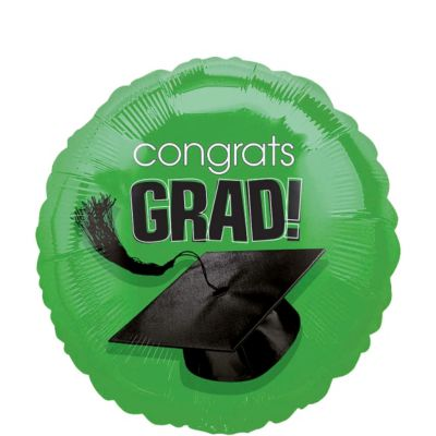 Green Graduation Balloon - Congrats Grad