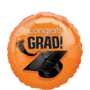 Orange Graduation Balloon - Congrats Grad