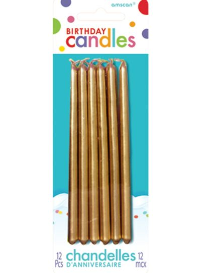 Tall Gold Birthday Candles 12ct
