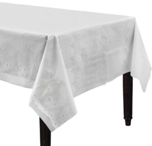 White Lace Print Plastic Tablecover