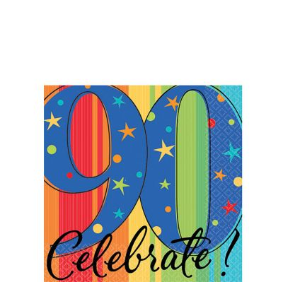 A Year to Celebrate 90th Birthday Beverage Napkins 16ct