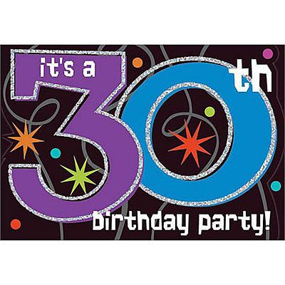 The Party Continues 30th Birthday Invitations 8ct