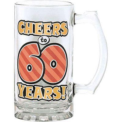 60th Birthday Glass Tankard