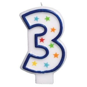 Glitter Blue Outline Number 3 Birthday Candle