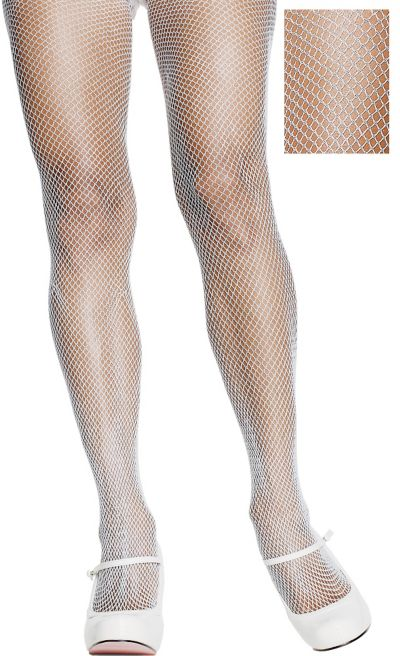 Adult White Fishnet Pantyhose Plus Size