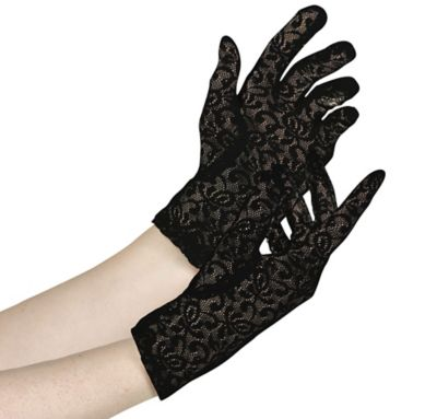 Womens Black Lace Gloves