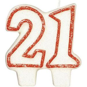 Glitter Red Outline Number 21 Birthday Candle