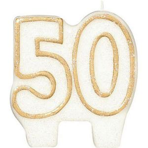Glitter Gold Outline Number 50 Birthday Candle