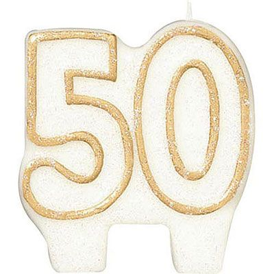 Gold Outline Glitter Number 50 Candle