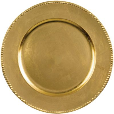 Gold Plastic Charger 14in | Party City