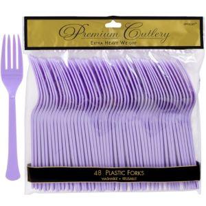 Lavender Premium Plastic Forks 48ct