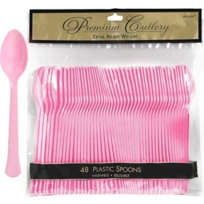 Pink Premium Plastic Spoons 48ct