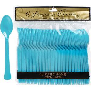 Caribbean Blue Premium Plastic Spoons 48ct