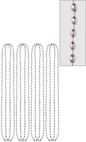 Metallic Silver Bead Necklaces 8ct