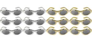 Gold & Silver Metallic Glasses 12ct