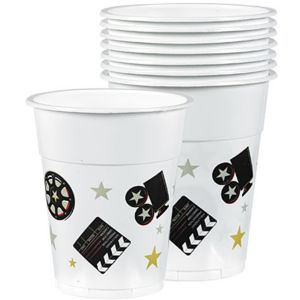 Clapboard Hollywood Plastic Cups 8ct