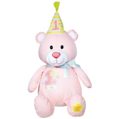 Pink 1st Birthday Autograph Bear
