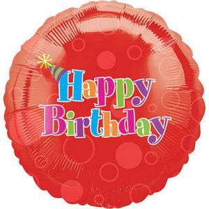 Foil Red Happy Birthday Balloon 18in