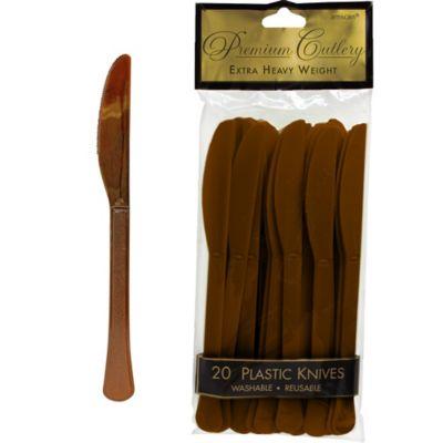 Chocolate Brown Premium Plastic Knives 20ct