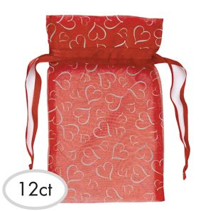 Red Organza Bags 7in 12ct
