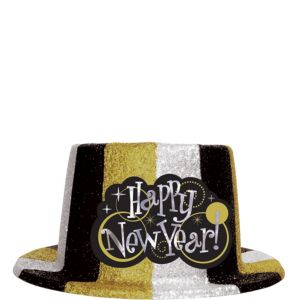 Glitter Black, Gold & Silver New Year's Top Hat