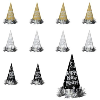 Black, Gold & Silver New Year's Cone Hats 12ct