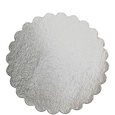 Silver 14in Round Cardboard Platter