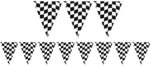 Black & White Checkered Pennant Banner