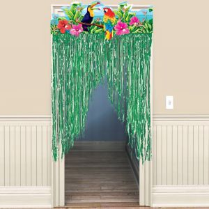 Tropical Birds Fringe Doorway Curtain