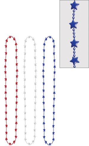 Metallic Patriotic Red, White & Blue Star Bead Necklaces 3ct