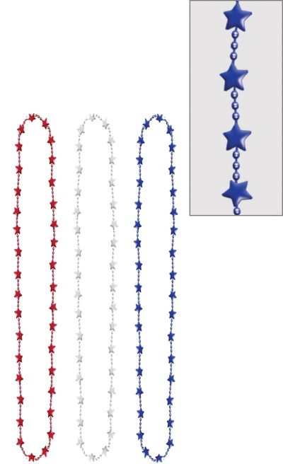 Patriotic Metallic Star Bead Necklaces 3ct